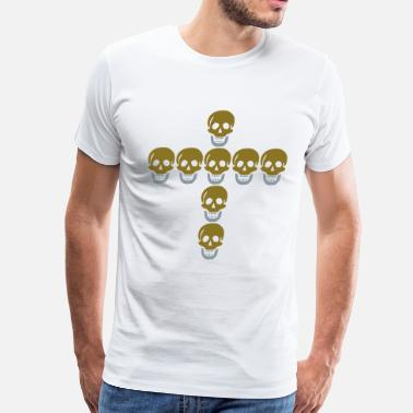 Silver Cross Skulls cross Gold & Silver by Pixellamb ™ - Men's Premium T-Shirt