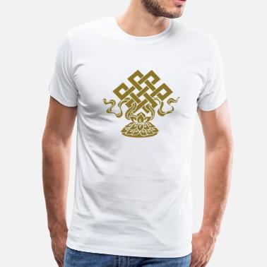 Feng Shui Eternal Knot, Endless, Lotus, Tibetan Buddhism, - Men's Premium T-Shirt