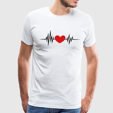 I Love You Heartbeat, Pulse, Heart, Valentines Day - Men's Premium T-Shirt