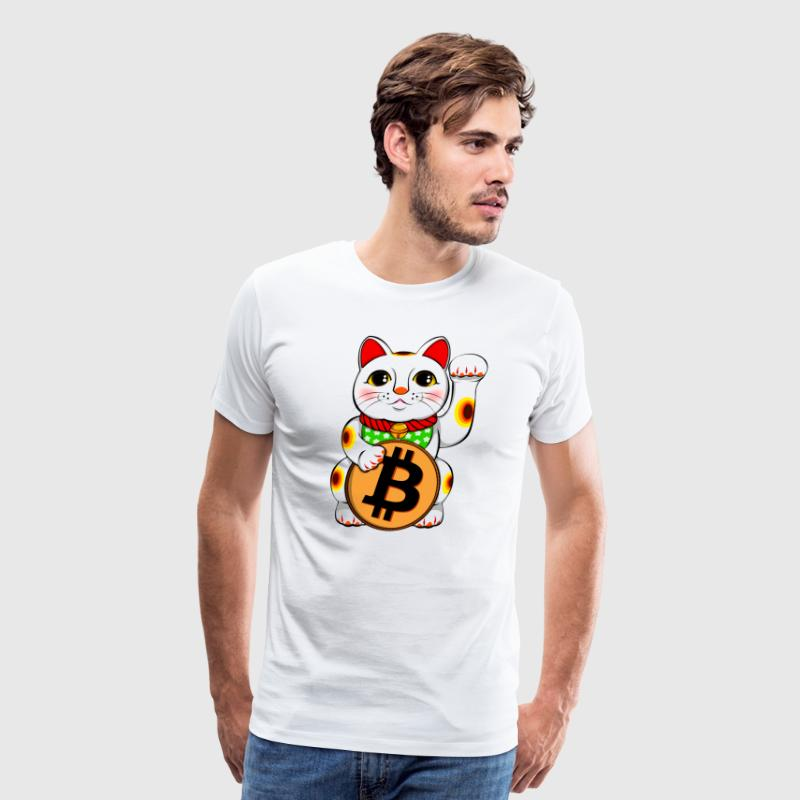 Bitcoin Lucky Cat Maneki Neko - Men's Premium T-Shirt
