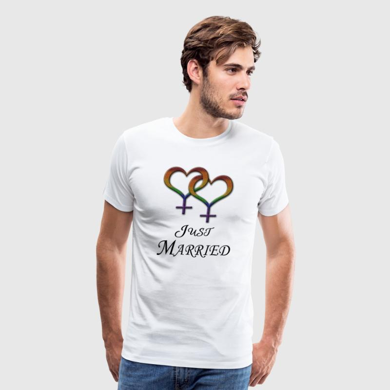 Just Married Lesbian Pride - Men's Premium T-Shirt