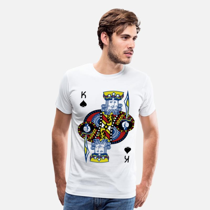 Blackjack T-Shirts - King Spade Playing Card - Men's Premium T-Shirt white