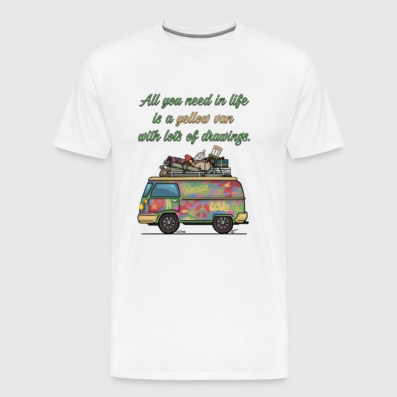 All You Need is a Yellow Van Graphic Hippie Shirt - Men's Premium T-Shirt