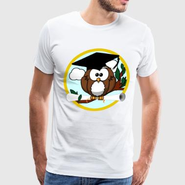 Diploma Graduation Graduating Cartoon Owl with Diploma - Men's Premium T-Shirt