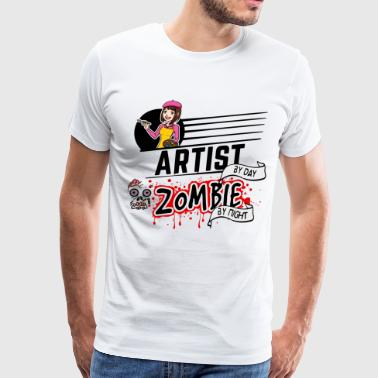 Female Artist - Zombie by night - Men's Premium T-Shirt