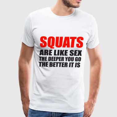 Squats Sex Health Fitness Gym Crossfit Running Yog - Men's Premium T-Shirt
