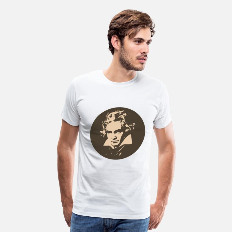 f82fe634e01 T-Shirts - Ludvig Van Beethoven in circle for light shirts - Men s Premium T