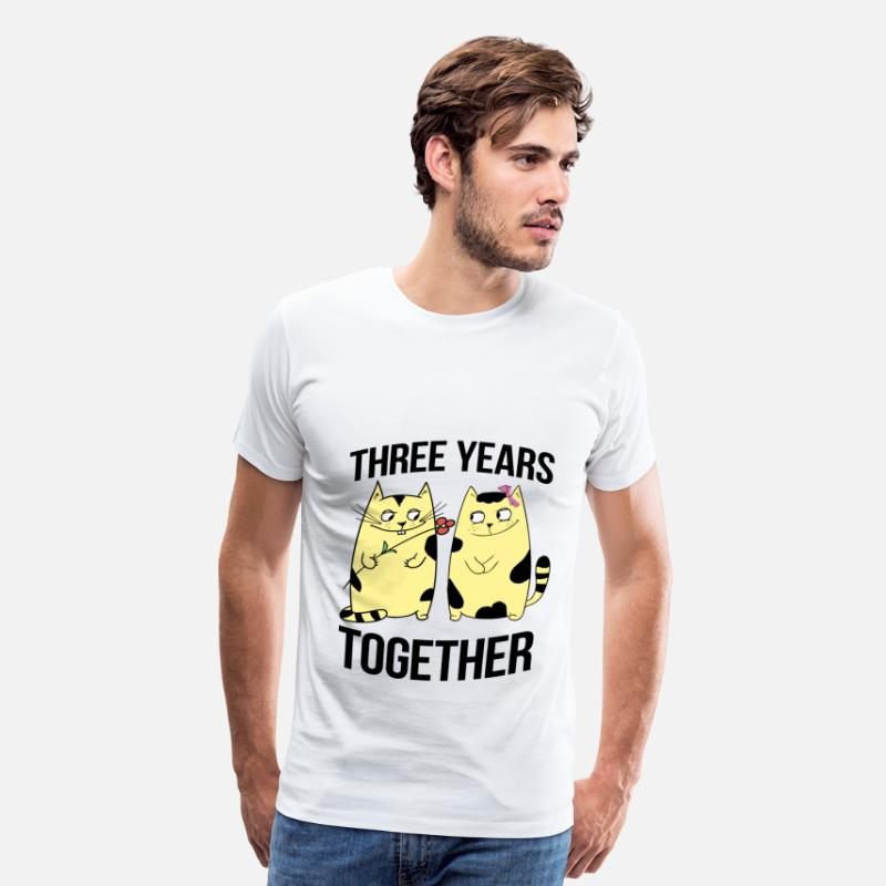 Love T-Shirts - three years together - Men's Premium T-Shirt white