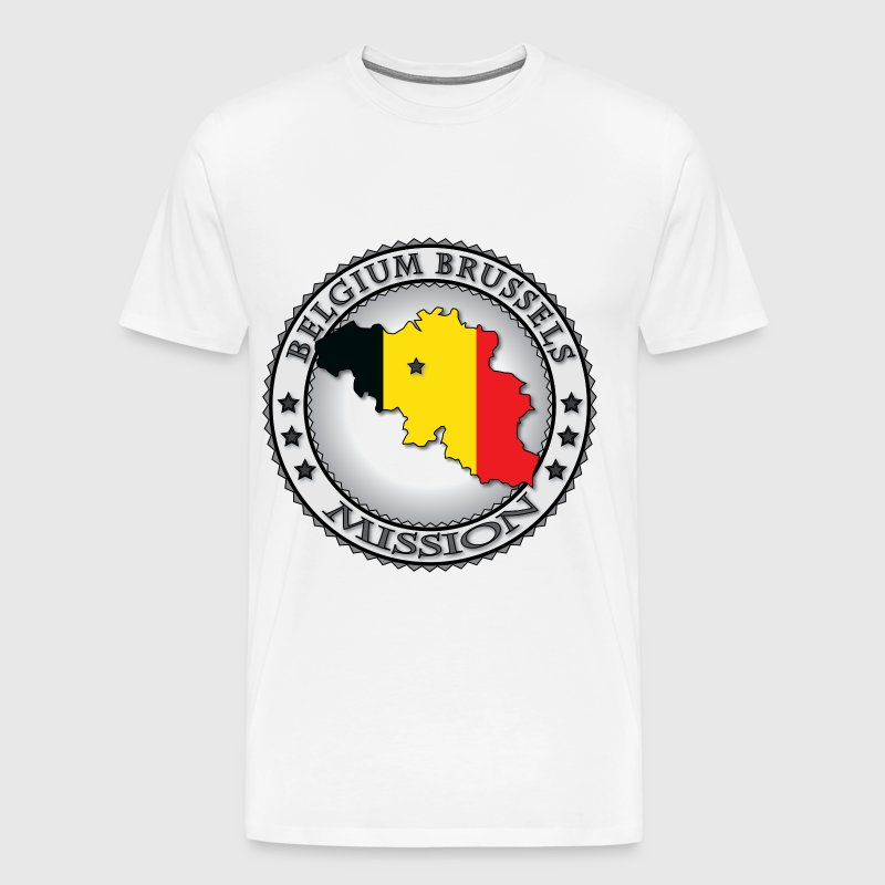Belgium Brussels LDS Mission Flag Cutout Map - Men's Premium T-Shirt