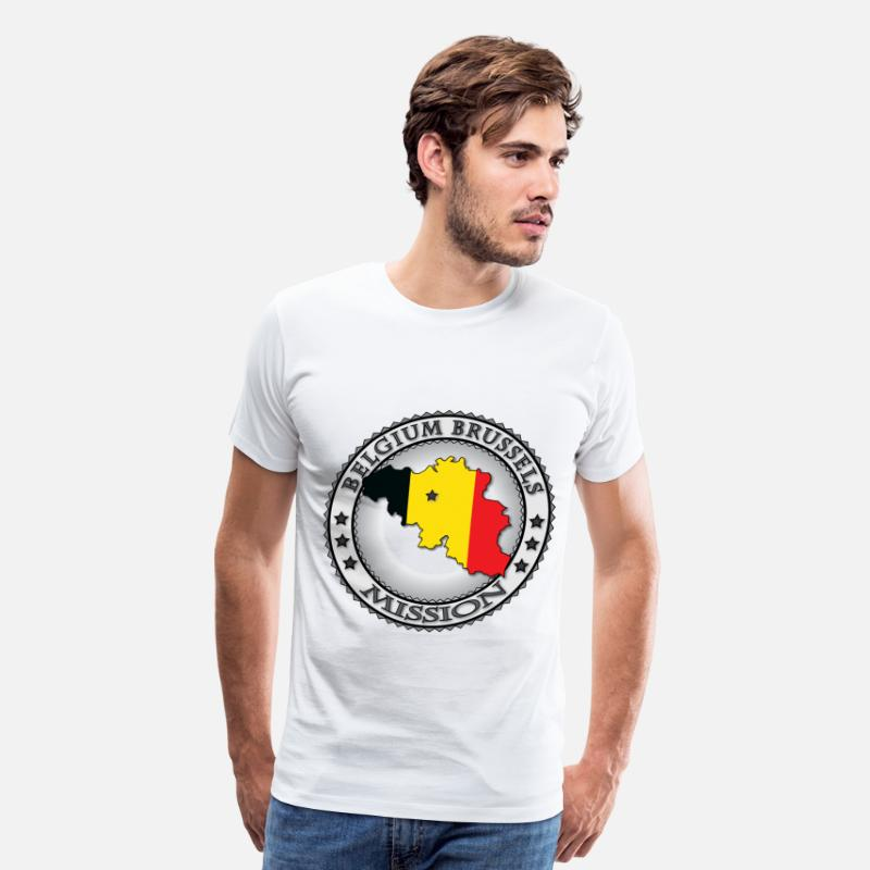 Belgium T-Shirts - Belgium Brussels LDS Mission Flag Cutout Map - Men's Premium T-Shirt white