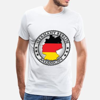 Berlin Calling Germany Berlin LDS Mission Flag Cutout Map - Called to Serve - Men's Premium T-Shirt