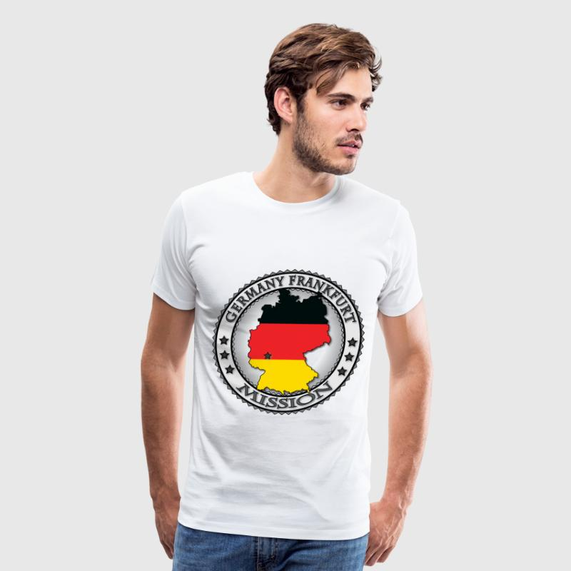 Germany Frankfurt LDS Mission Flag Cutout Map - Called to Serve - Men's Premium T-Shirt