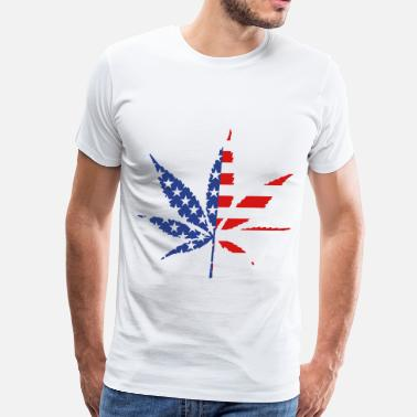 Marijuana-leaf-american-flag-... Marijuana Leaf American Flag - Men's Premium T-Shirt