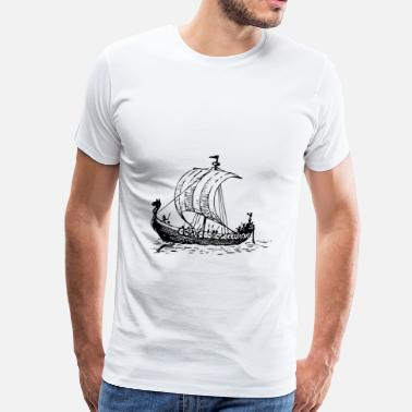 Sail Boat Draw Viking Ship - Men's Premium T-Shirt
