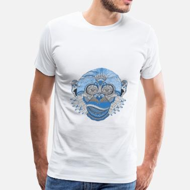Blue Monkey Blue Monkey Face Art - Men's Premium T-Shirt