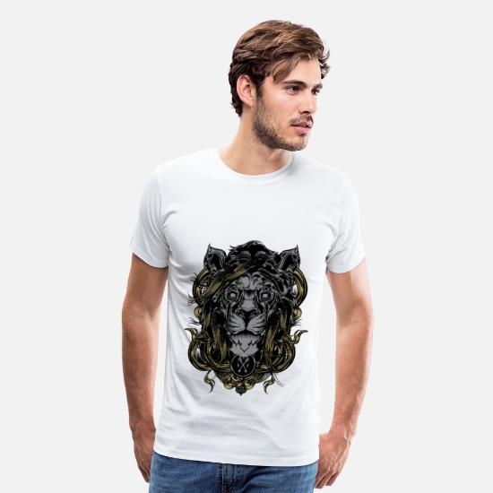 Glow-in-the-dark T-Shirts - Lion of Darkness - Men's Premium T-Shirt white
