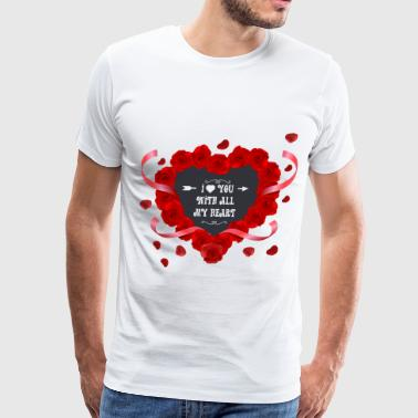 Romantic rose heart - Men's Premium T-Shirt