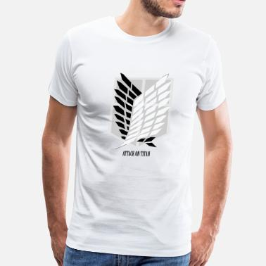 Aot Attack On Titan: Wings of Freedom T-shirt w/ Text - Men's Premium T-Shirt