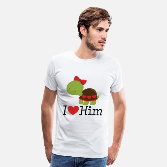 Love T-Shirts - I Love Him Turtle Dating Gift - Men's Premium T-Shirt white
