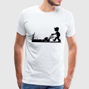 man cutting grass - Men's Premium T-Shirt