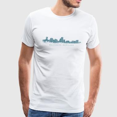 Baltimore, Maryland City Skyline Vintage Blue - Men's Premium T-Shirt