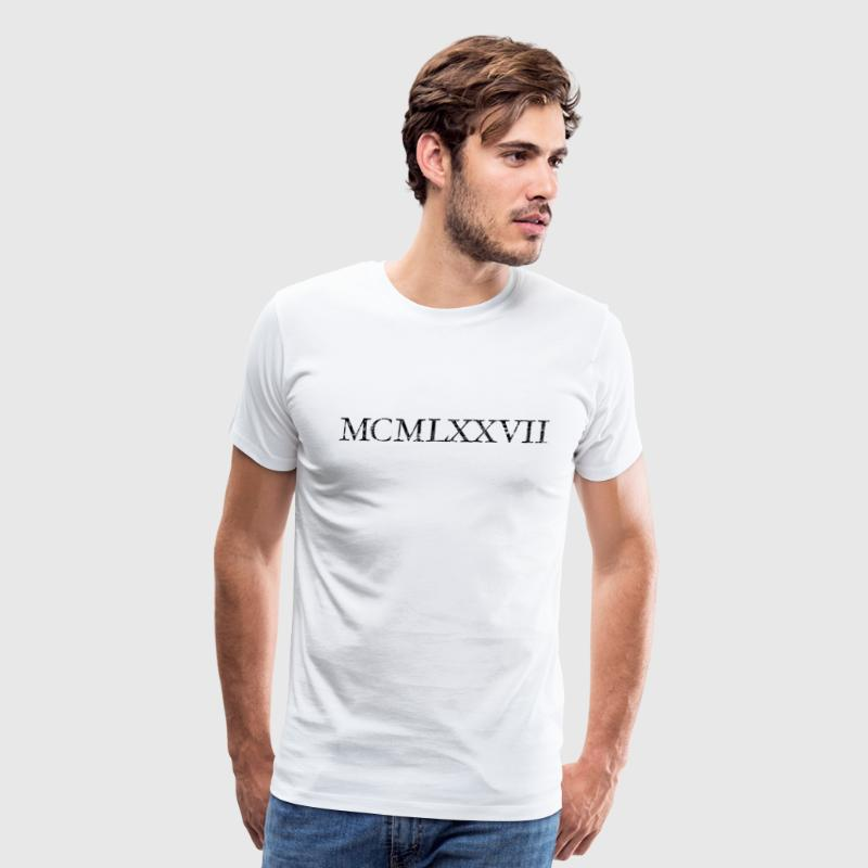 MCMLXXVII 1977 Roman Birthday Year Vintage Black - Men's Premium T-Shirt