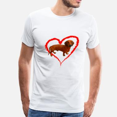 Weiner Dog Dachshund Weiner Dog Heart - Men's Premium T-Shirt