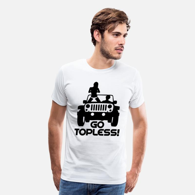 Jeep T-Shirts - A0240 JEEP GO TOPLESS JK - Men's Premium T-Shirt white