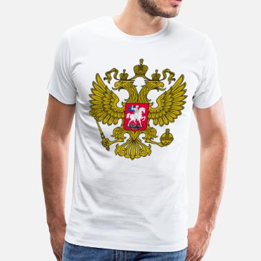 Russian Eagle Gerb Gold Coat of Arms of Russia Россия Eagle - Men's Premium T-Shirt