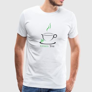 Green Tea Cup with weed leaf - Men's Premium T-Shirt