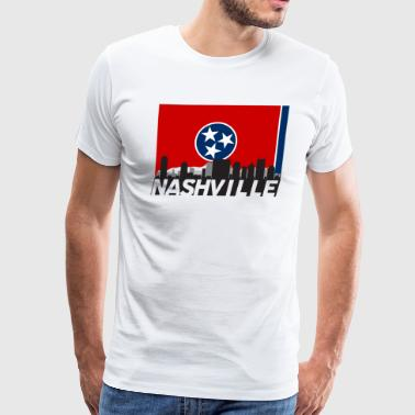 Nashville Tennessee Skyline Flag - Men's Premium T-Shirt