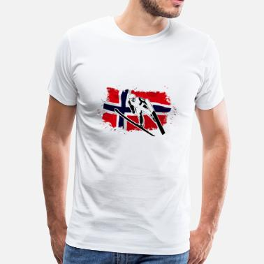 Ski Flag Ski Jumping - Norway Flag - Men's Premium T-Shirt