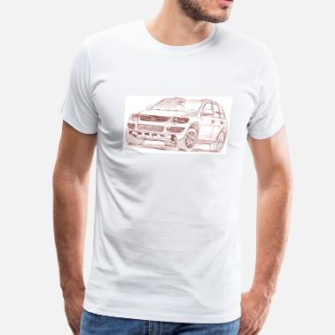 Car Sketch Sketches Auto Drawing Illustration VW Toureg 2007 T-Shirts - Men's Premium T-Shirt