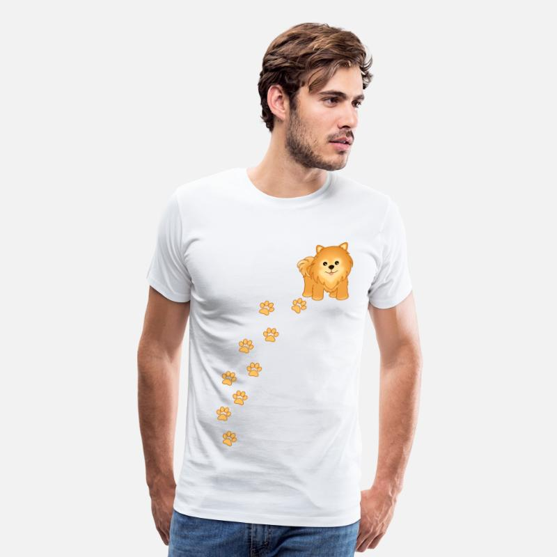 Pet T-Shirts - Cute Pomeranian Puppy Dog Cartoon - Men's Premium T-Shirt white