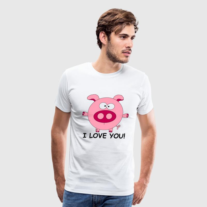 Pig I love you Lover Cupid couple Valentine Kiss - Men's Premium T-Shirt