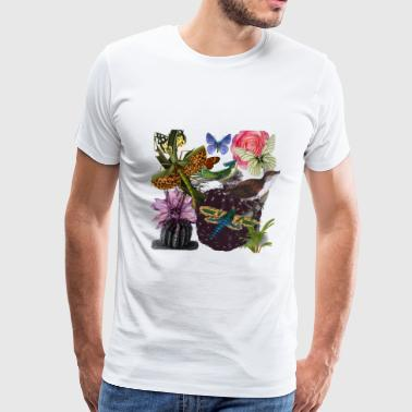 cacti with dragonfly - Men's Premium T-Shirt