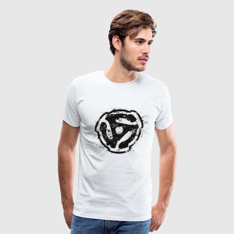DJ Vinyl Design 45 rpm Record Adaptor Outline - Men's Premium T-Shirt
