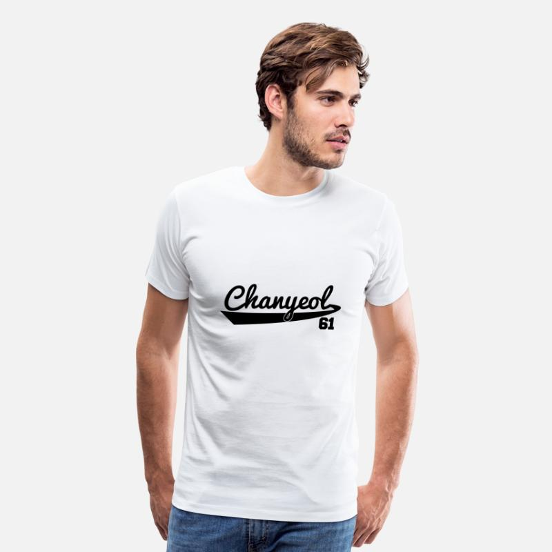 Chanyeol T-Shirts - EXO_Chanyeol_61_Baseball_Style - Men's Premium T-Shirt white