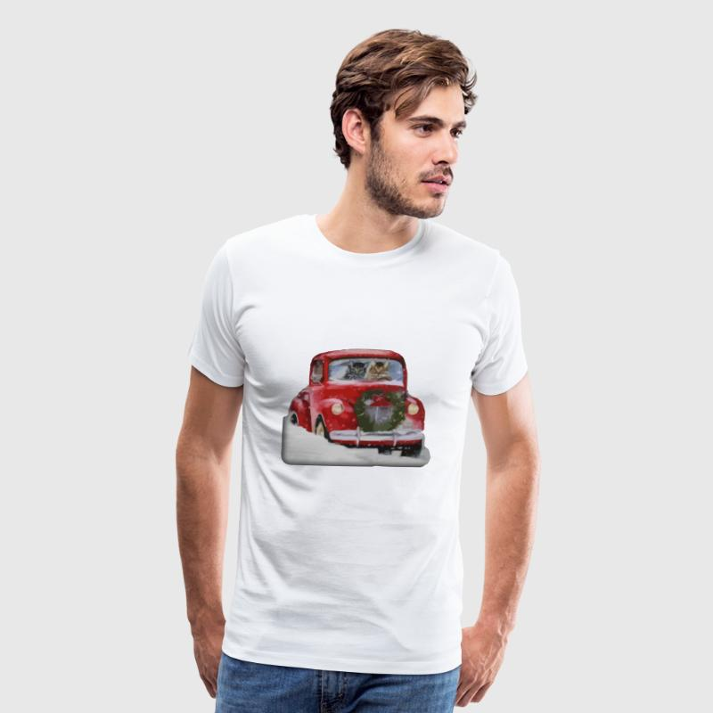 CHRISTMAS CATS IN THE CAR - Men's Premium T-Shirt