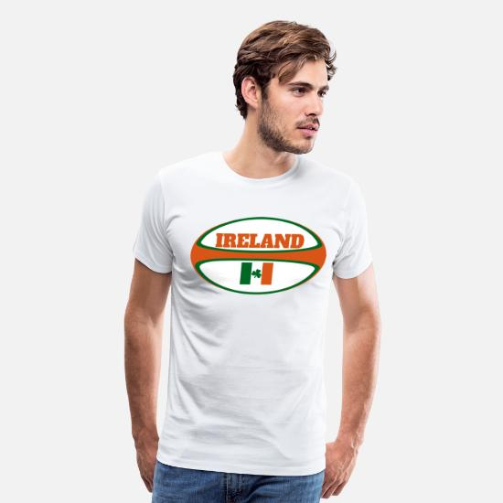 Ireland T-Shirts - Ireland Flag Rugby Ball - Men's Premium T-Shirt white