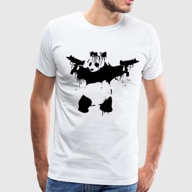 PANDA WITH UZIS GUNS SECOND AMENDMENT AR15 BANKSY - Men's Premium T-Shirt
