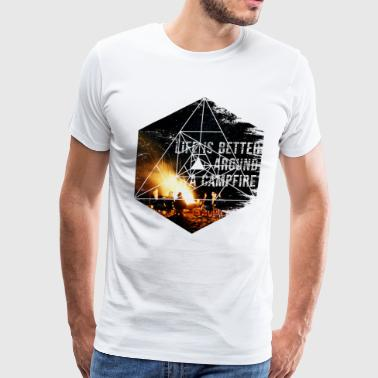 Camping Campfire - Geometric Graphic Shapes - Men's Premium T-Shirt
