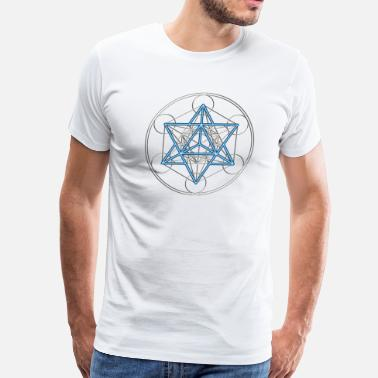 Metatrons Star Tetrahedron - Merkaba, DD, silver blue,  Flower of Life, Sacred geometry, Platonic Solids - Men's Premium T-Shirt