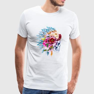 Watercolor: Skull, feather, and flower headdress - Men's Premium T-Shirt