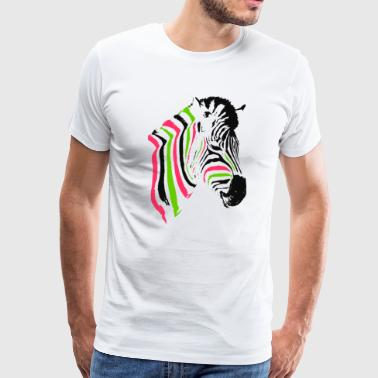 multicolored zebra head - Men's Premium T-Shirt