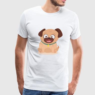 Smiley pug with flat design - Men's Premium T-Shirt