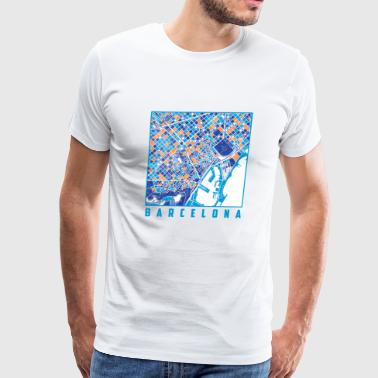 Barcelona Map Print - Men's Premium T-Shirt