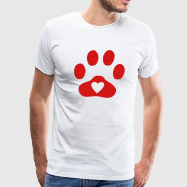 Heart In Paw Print  - Dog, Cat - Men's Premium T-Shirt