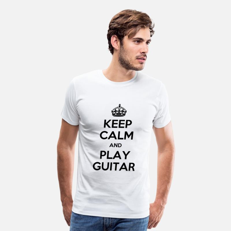 Beer T-Shirts - keep calm play guitar - Men's Premium T-Shirt white