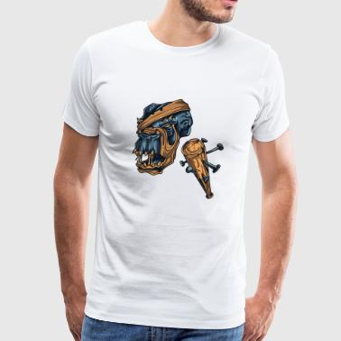 Zombie Monster Weapon Scary Design Painting draw - Men's Premium T-Shirt